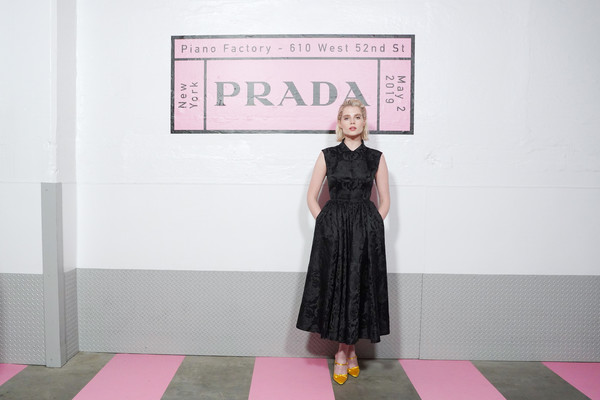 Lucy Boynton Evening Pumps [clothing,pink,dress,shoulder,text,fashion,pattern,design,joint,footwear,lucy boynton,prada resort 2020 fashion show,prada resort 2020,prada headquarters,new york city,fashion show]