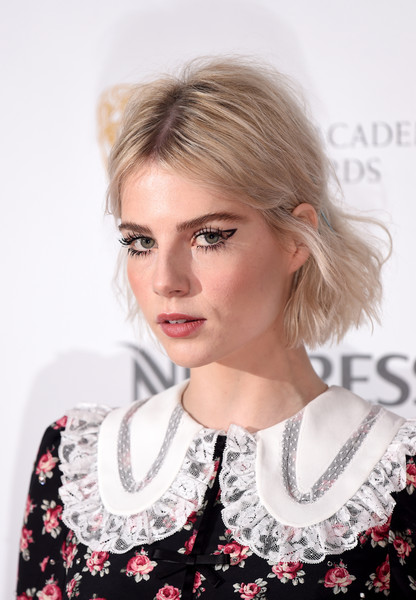 Lucy Boynton Messy Cut [hair,blond,hairstyle,lip,eyebrow,beauty,lady,fashion,chin,fashion model,nespresso,red carpet arrivals,lucy boynton,british academy film awards,england,london,kensington palace,nominees party,nominees party]