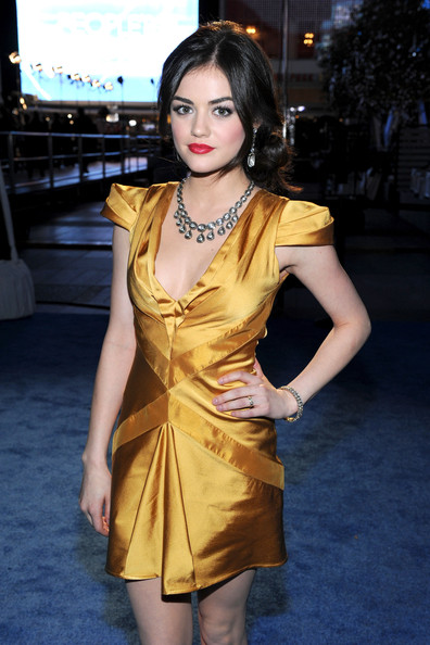 Lucy Hale Diamond Bracelet [red carpet,fashion model,clothing,yellow,dress,beauty,fashion,hairstyle,lady,cocktail dress,leg,lucy hale,peoples choice awards,california,los angeles,nokia theatre l.a. live]