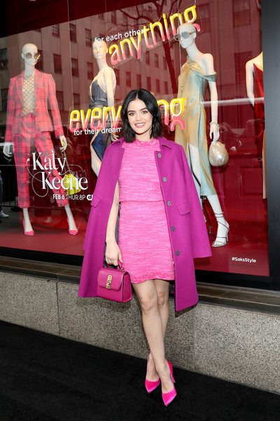 More Pics of Lucy Hale Evening Pumps (2 of 10) - Heels Lookbook - StyleBistro [pink,clothing,magenta,fashion,fashion design,dress,fun,footwear,outerwear,event,lucy hale celebrates katy keene windows,lucy hale,windows,saks fifth avenue,new york city,lucy hale,katy keene,new york,the cw,actor,television,red carpet,photograph]