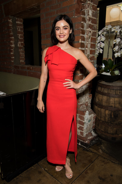 Lucy Hale was svelte and elegant in a red one-shoulder dress by Oscar de la Renta at the St. Jude luncheon.
