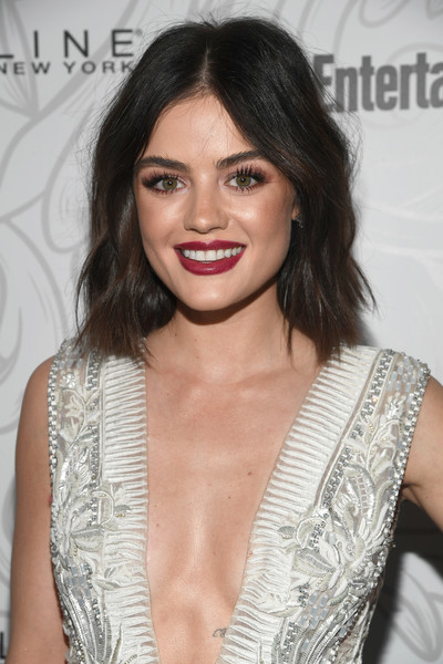 Lucy Hale Medium Wavy Cut [hair,fashion model,beauty,hairstyle,human hair color,eyebrow,shoulder,chin,long hair,black hair,nominees,lucy hale,arrivals,entertainment weekly celebrates the sag award,entertainment weekly celebration of sag award,new york,los angeles,california,maybelline,chateau marmontssponsored]