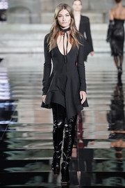 Grace Elizabeth walked the LuisaViaRoma CR runway wearing a Mugler LBD with a plunging neckline and a handkerchief hem.