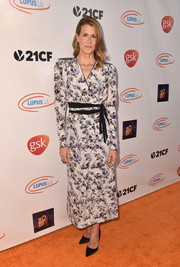 Laura Dern went ladylike in a floral wrap dress by Ronald van der Kemp Couture at the 2018 Orange Ball.