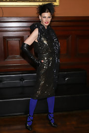 Linda Evangelista strapped on a pair of edgy leather shoes for the 2012 Lycee Francais de New York Gala.
