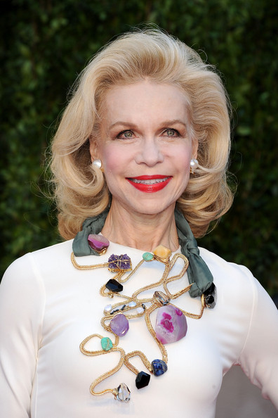 Lynn Wyatt Gemstone Statement Necklace [vanity fair,oscar party,party,hair,face,white,blond,lip,beauty,hairstyle,lady,chin,fashion,west hollywood,california,sunset tower,lynn wyatt,graydon carter - arrivals,oscar,graydon carter]
