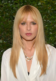 Rachel Zoe still rocked her signature straight 'do with blunt bangs at the 'Vogue' and MAC Cosmetics Dinner Party in LA.