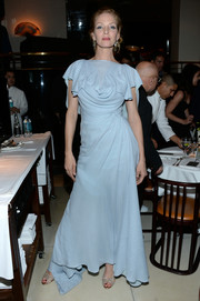 Uma Thurman was vintage-glam in a draped blue evening dress at the pre-fall collection celebration of John Demsey and Zac Posen.