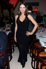 Margherita Missoni sported a curvy silhouette in a black sheer-panel dress during Zac Posen's pre-fall collection celebration.