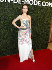 Madelaine Petsch looked effervescent at the MAISON-DE-MODE sustainable style celebration in a strapless Mary Katrantzou gown that was adorned with reused Swarovski crystals.