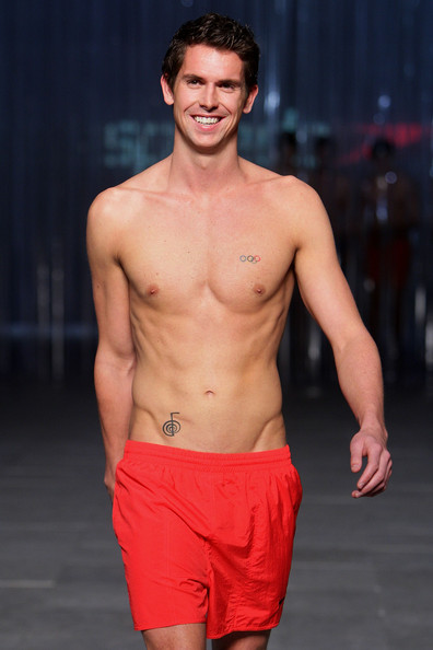 Eamon Sullivan rocked these red swim trunks on the runway that could have easily gone  from the catwalk straight to the beach.