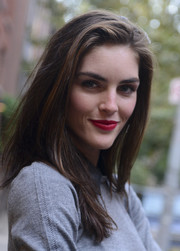 Hilary Rhoda was spotted during Mercedes-Benz Fashion Week sporting a bold berry lip.