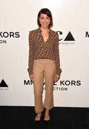 Aubrey Plaza channeled the '70s with this Michael Kors geometric-print shirt at the MOCA Distinguished Women in the Arts luncheon.