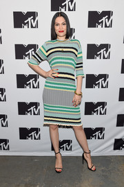 Jessie J looked laid-back and cute in a striped knit dress by Celine during the MTV 2015 Upfront Presentation.