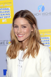 Olivia Palermo opted for a casual center-parted style when she attended MTV's 2017 College Signing Day.