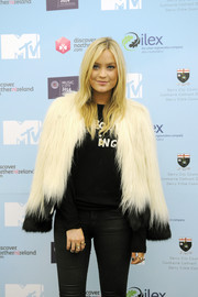 Laura Whitmore helped MTV crash Derry Londonderry in style with her fluffy fur coat.
