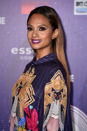 Alesha Dixon embraced color during the MTV EMAs, teaming a violet lip with a bold print dress.