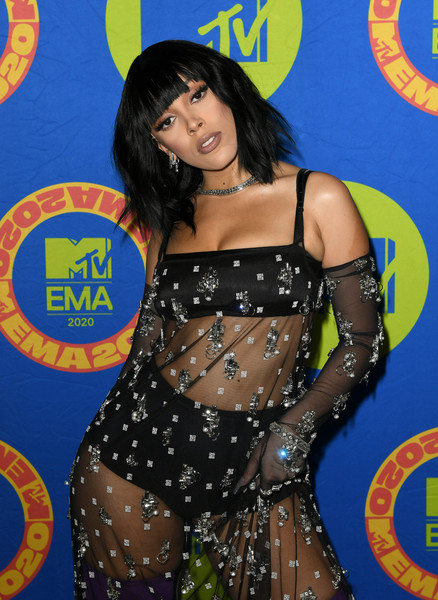 Doja Cat wore embellished gloves to match her dress at the 2020 MTV EMAs.