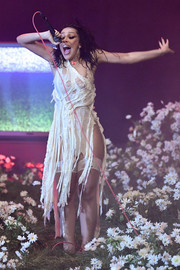 Doja Cat performed at the 2020 MTV EMAs wearing a tattered white dress.