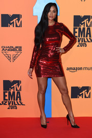 Nicole Scherzinger glitzed up in a red sequined mini dress by Tom Ford for the 2019 MTV EMAs.