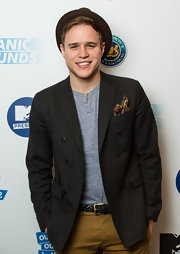 Olly Murs stepped out at the MTV presentation wearing a tweed blazer.