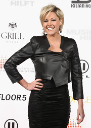 Dark gray nail polish is an edgy finish to Helene's red carpet look.