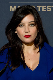 Daisy Lowe's red lipstick looked gorgeous against her cobalt outfit.