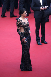 Michelle Rodriguez jumped in on the sheer bandwagon with this sequined floral gown by Zuhair Murad during the 'Mad Max: Fury Road' premiere in Cannes.