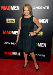 Katie Couric opted for a sleeveless navy shift dress when she attended the 'Mad Men' special screening.