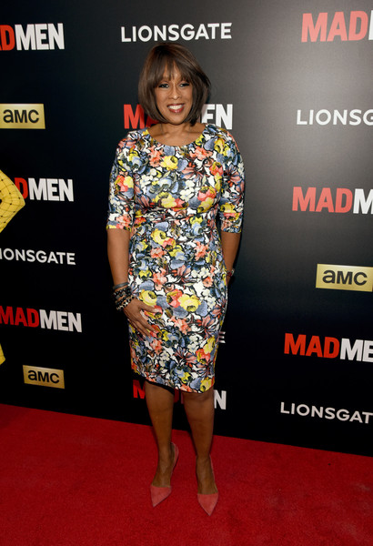 Gayle King was spring-chic in a colorful floral sheath dress during the 'Mad Men' special screening.