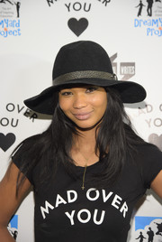 Chanel Iman arrived for the DreamYard Bronx-Wide Poetry Slam wearing a stylish black walker hat.