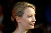 Mia Wasikowska went for no-frills styling with this classic bun and minimal makeup at the 'Madame Bovary' London Film Festival screening.
