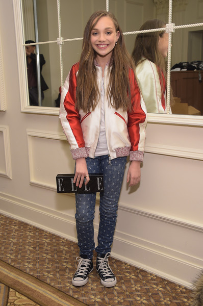 Maddie Ziegler Skinny Jeans [sherri hill,maddie ziegler,clothing,jeans,fashion,street fashion,footwear,leather,jacket,outerwear,denim,leather jacket,mercedes-benz fashion week,fashion show,new york city,the plaza]