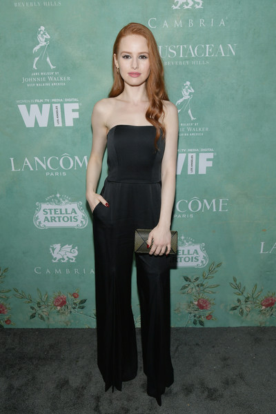 Madelaine Petsch Studded Clutch [women in film pre-oscar cocktail party,clothing,shoulder,dress,fashion,little black dress,joint,premiere,strapless dress,waist,cocktail dress,11th annual women in film pre-oscar cocktail party,stella artois,johnnie walker,madelaine petsch,support,crustacean beverly hills,max mara,lancome,red carpet]
