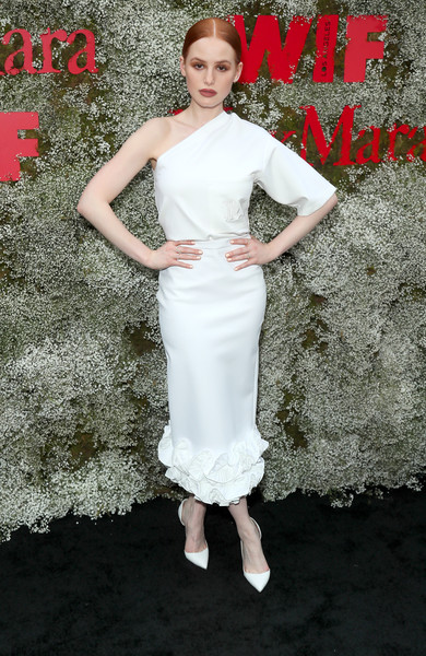 Madelaine Petsch Pumps [instyle max mara women in film celebration,max mara women in film celebration,madelaine petsch,clothing,white,dress,shoulder,cocktail dress,fashion,lady,beauty,bridal party dress,fashion model,chateau marmont,los angeles,california,instyle]