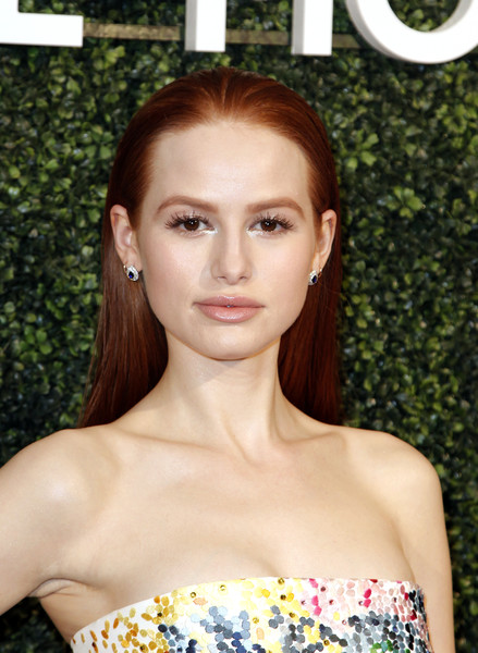 Madelaine Petsch Long Straight Cut [hair,face,hairstyle,beauty,lip,eyebrow,skin,shoulder,brown hair,dress,dress,arrivals,suzy amis cameron,maison-de-mode celebrates sustainable style,madelaine petsch,style,maison-de-mode,sunset tower,red carpet,celebration]