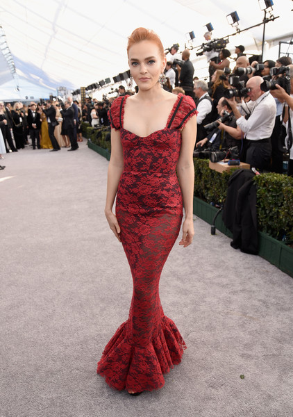 Madeline Brewer Mermaid Gown [red carpet,dress,clothing,fashion model,fashion,gown,shoulder,red carpet,carpet,red,flooring,madeline brewer,screen actors guild awards,screen actors\u00e2 guild awards,california,los angeles,the shrine auditorium]