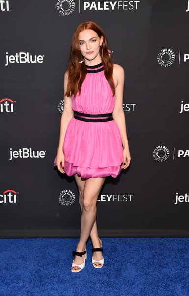Madeline Brewer Evening Sandals [the handmaids tale,clothing,dress,cocktail dress,pink,fashion model,fashion,premiere,shoulder,hairstyle,footwear,arrivals,madeline brewer,los angeles,dolby theatre,california,hollywood,paley center for media,paleyfest]