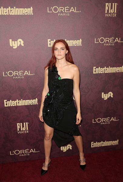 Madeline Brewer Studded Heels [dress,clothing,little black dress,cocktail dress,carpet,red carpet,premiere,shoulder,leg,strapless dress,madeline brewer,fiji water at entertainment weekly pre-emmy party,los angeles,california,entertainment weekly pre-emmy party]