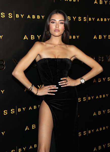 Madison Beer Gold Chronograph Watch [dress,clothing,fashion model,cocktail dress,little black dress,strapless dress,shoulder,premiere,waist,long hair,abby launch,madison beer,abyss,los angeles,california,beauty essex]