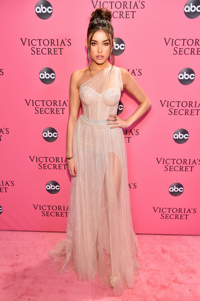 Madison Beer Corset Dress [clothing,dress,shoulder,red carpet,pink,hairstyle,carpet,gown,fashion model,fashion,pink carpet arrivals,madison beer,new york,pier 94,victorias secret fashion show]