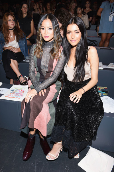 Madison Beer Long Skirt [shows,fashion,event,fashion design,fashion model,dress,long hair,haute couture,footwear,leg,little black dress,vivienne tam,madison beer,jamie chung,front row,moynihan station,new york city,l,the shows,new york fashion week]