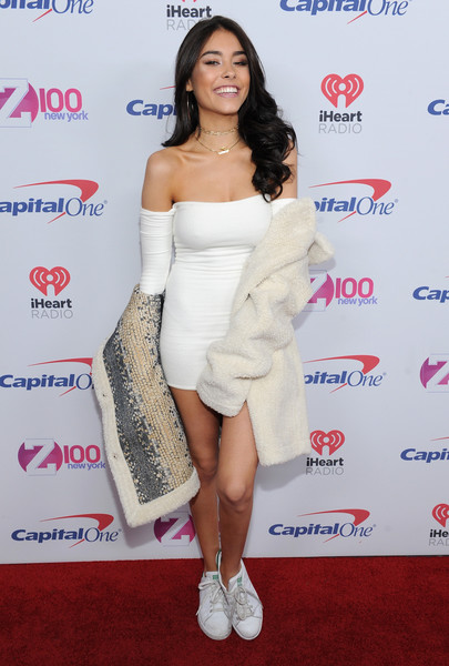 Madison Beer Off-the-Shoulder Dress [jingle ball 2016,clothing,shoulder,dress,cocktail dress,joint,leg,strapless dress,premiere,thigh,footwear,madison beer,room,new york city,madison square garden,z100]