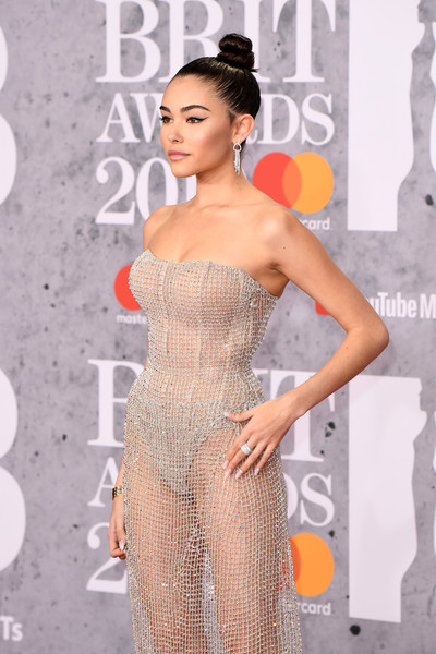 Madison Beer Diamond Ring [fashion model,dress,clothing,shoulder,cocktail dress,hairstyle,beauty,strapless dress,fashion,long hair,red carpet arrivals,madison beer,brit awards,london,england,the o2 arena]