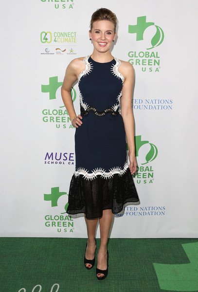 Maggie Grace Cocktail Dress [clothing,dress,cocktail dress,green,carpet,fashion,shoulder,red carpet,a-line,fashion model,arrivals,maggie grace,beverly hills,california,mr. c beverly hills hotel,global green usa,13th annual pre-oscar party]