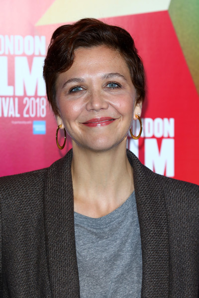 Maggie Gyllenhaal Gold Hoops [hair,face,eyebrow,hairstyle,chin,premiere,forehead,lip,smile,london,england,bfi london film festival,maggie gyllenhaal,maggie gyllenhaal - 62nd]