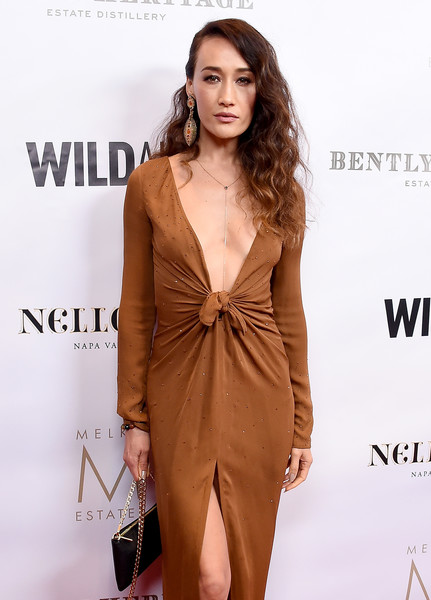 Maggie Q Chain Strap Bag [clothing,fashion model,dress,cocktail dress,brown,shoulder,neck,fashion,hairstyle,formal wear,arrivals,maggie q,china,beverly hills,california,beverly wilshire four seasons hotel,wildaid,evening]