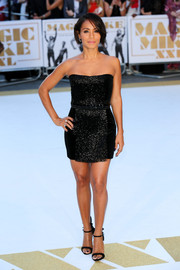 Jada Pinkett Smith complemented her dress with a pair of embellished black ankle-strap sandals by Giuseppe Zanotti.