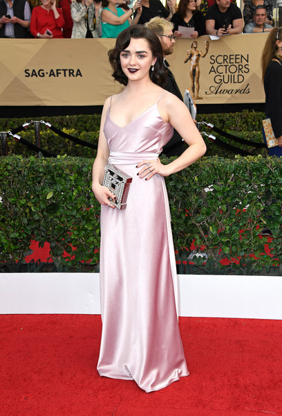 Maisie Williams Gemstone Inlaid Clutch [gown,flooring,carpet,dress,beauty,shoulder,red carpet,lady,cocktail dress,fashion model,arrivals,maisie williams,screen actors guild awards,los angeles,california,the shrine auditorium]