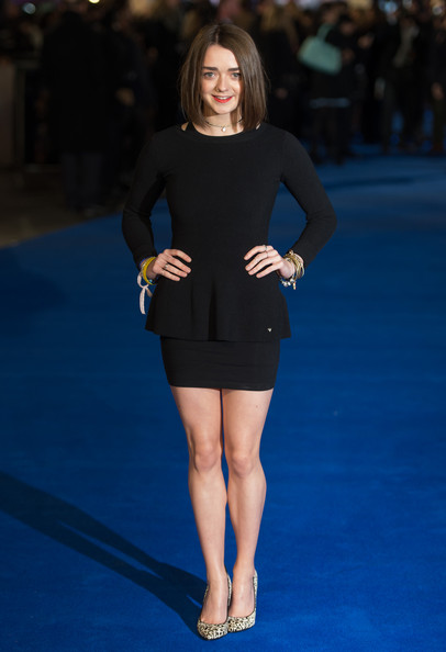 Maisie Williams Pumps [fashion model,blue,little black dress,catwalk,footwear,dress,fashion,flooring,beauty,electric blue,night at the museum: secret of the tomb,night at the museum: secret of the tomb premiere,uk,england,london,empire leicester square,maisie williams]